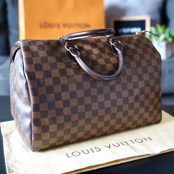 Louis Vuitton Handbags - Louis Vuitton Speedy 35 Damier Ebene Satchel Bag